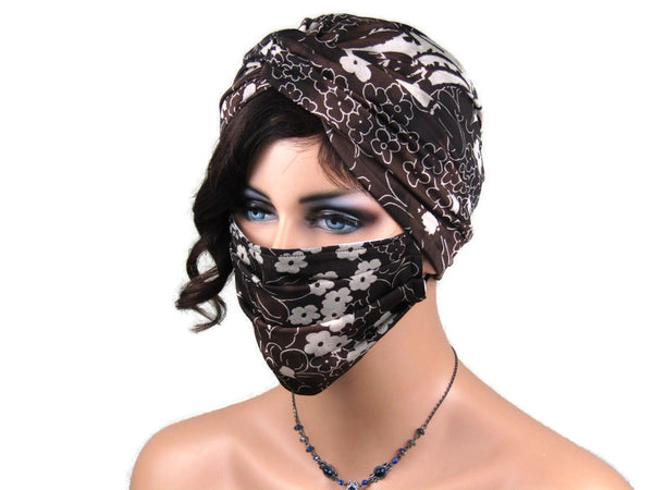 Handmade Brown & Khaki Floral Twist Turban, With Optional Face Mask