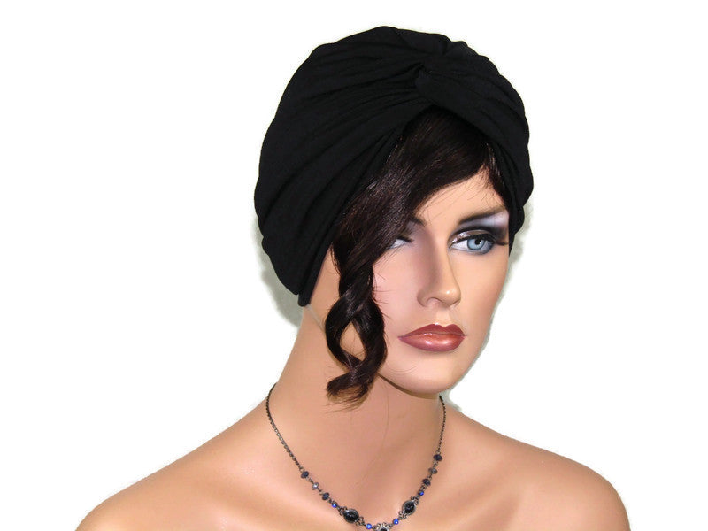 Handmade Black Twist Turban, Soft Black