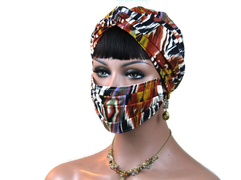 Handmade Rust Abstract Twist Turban & Face Mask Set