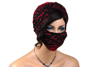 Handmade Red & Black Abstract Twist Turban & Face Mask Set