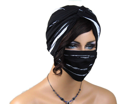 Handmade Black & White Abstract Stripe Twist Turban & Face Mask Set
