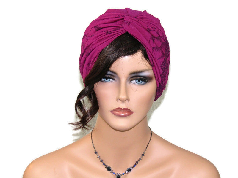 Handmade Deep Magenta & Elderberry Floral Twist Turban, & Full Mask Set