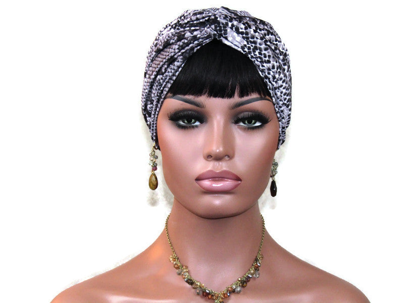 Handmade Black Twist Turban, Grey, Snake Print