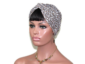 Handmade Cream & Brown Twist Turban, Animal Print, Cheetah