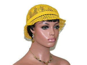 Handmade Crocheted Lace Brimmed Hat, Gold Dust