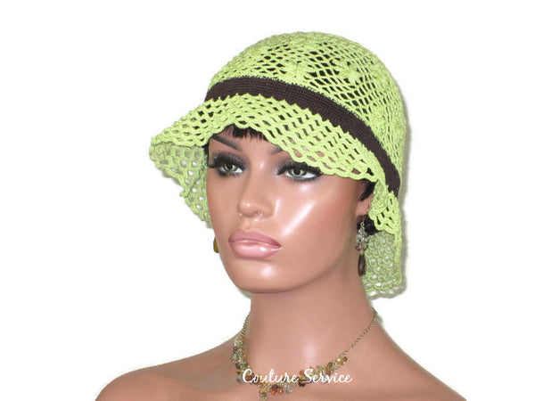 Handmade Crocheted Lace Brimmed Hat, Lime Green & Chocolate