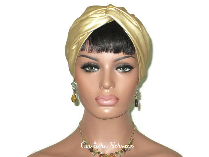Handmade Leather Turban, Gold Metallic, Light Gold - Couture Service  - 1