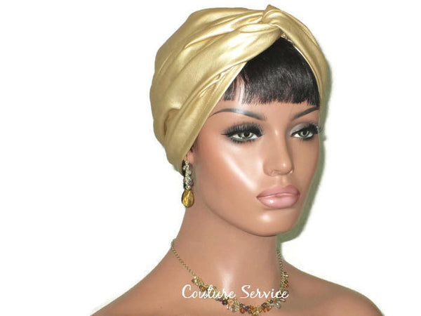 Handmade Leather Turban, Gold Metallic, Light Gold - Couture Service  - 2