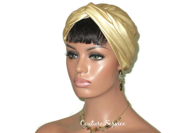 Handmade Leather Turban, Gold Metallic, Light Gold - Couture Service  - 3