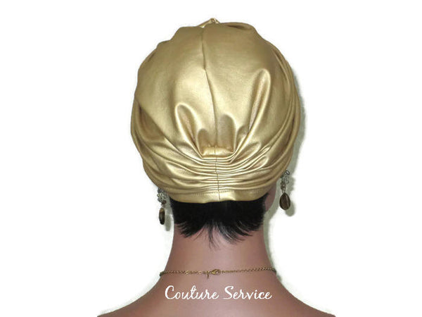 Handmade Leather Turban, Gold Metallic, Light Gold