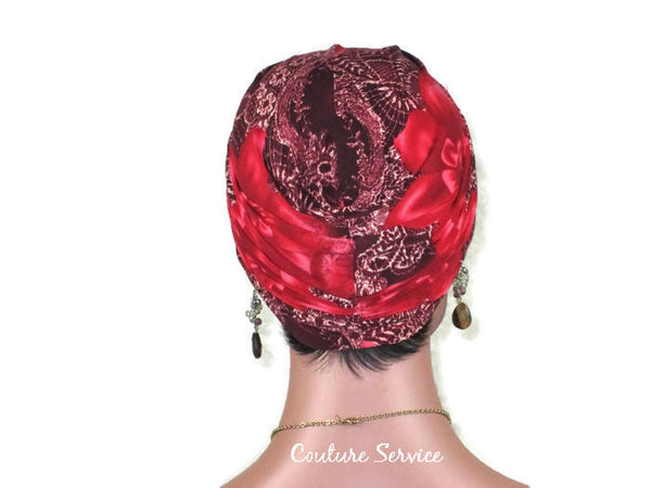 Handmade Lily Red Printed Twist Turban