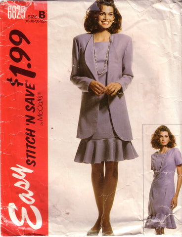 Vintage Easy McCall's Stitch 'N Save 6825, Misses Unlined Jacket And Dress, Size 16, 18, 20, 22