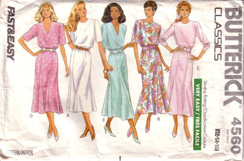 Vintage Fast & Easy Butterick Classics 4560, Pullover Dress, Size 12, 14, 16