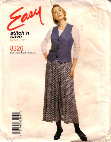 Vintage Easy McCall's Stitch 'N Save 8326, Misses Lined Vest Sewing Pattern, Size 16, 18, 20, 22