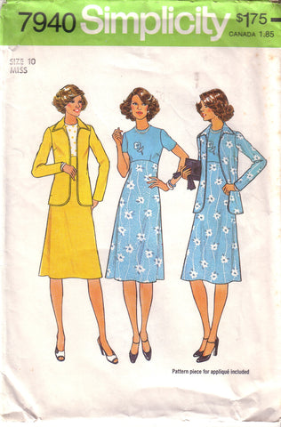 Vintage Simplicity 7940, Misses Dress and Unlined Jacket, Size 10