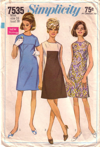 Vintage Simplicity 7535, Juniors and Misses Dress, Size 16