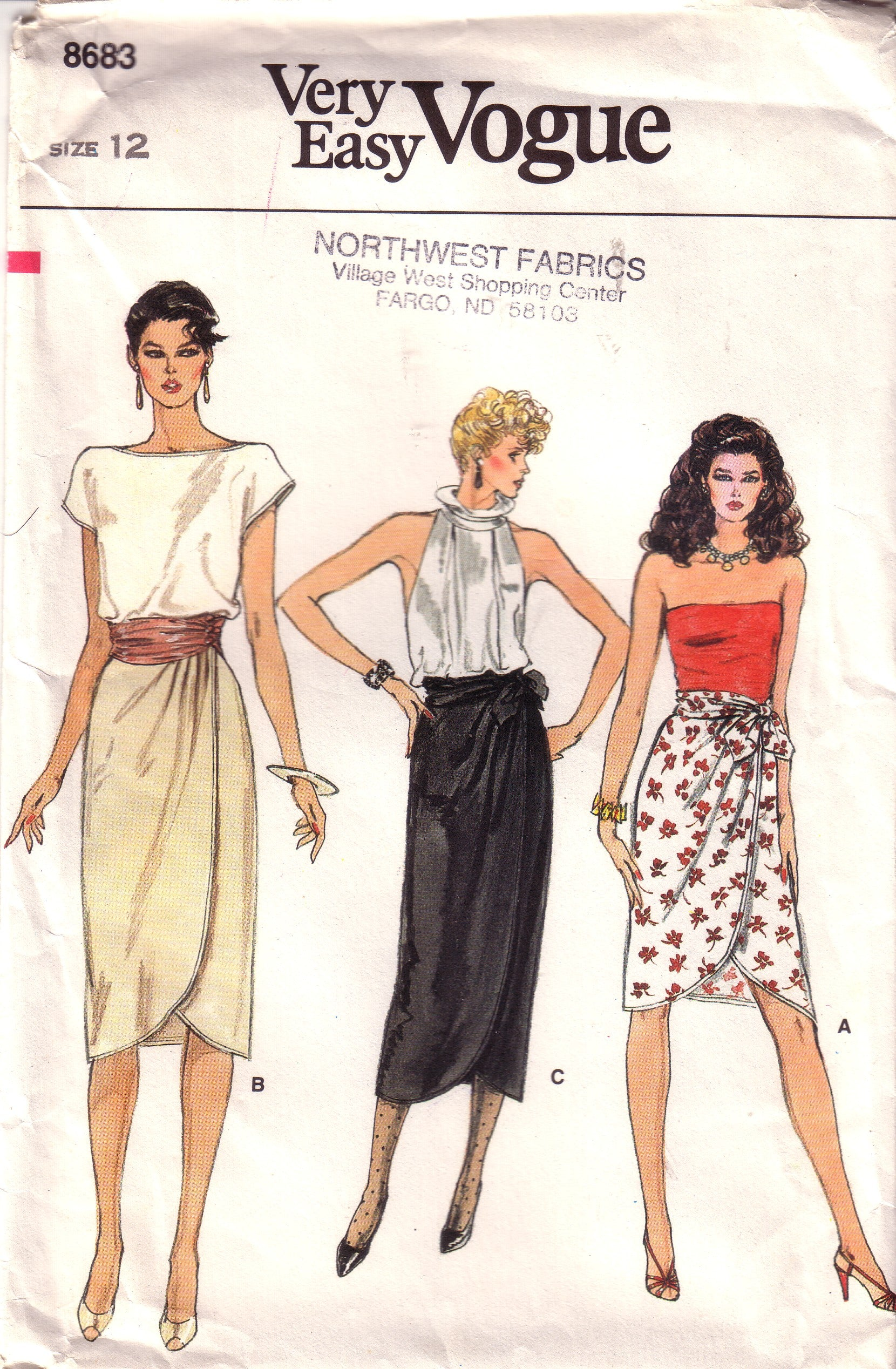 Vintage Very Easy Vogue 8683, Misses Wrap Skirt and Belt Size 12
