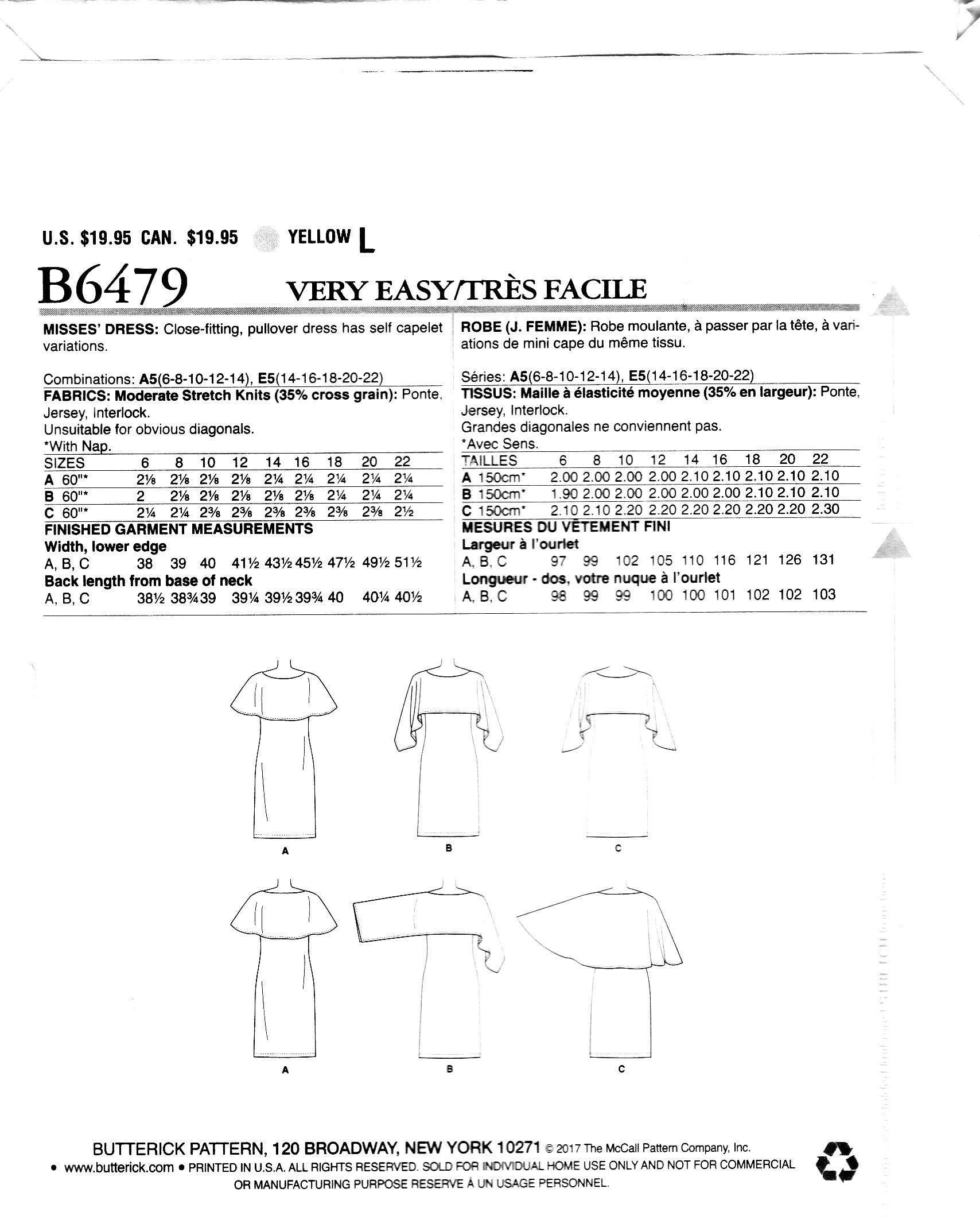 Butterick Fast & Easy 6479, Capelet Dress