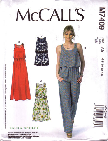 McCall's 7409, Designer Laura Ashley, Misses Dresses, Romper, and Jumpsuit