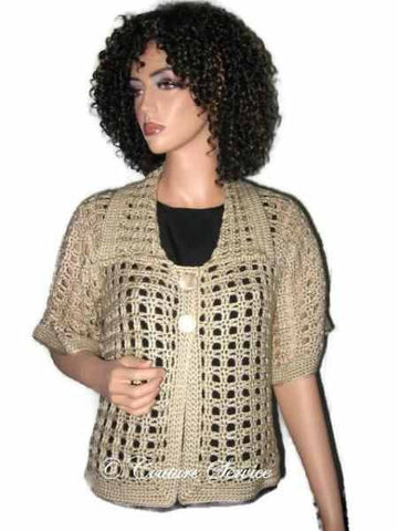 Handmade Crocheted Window Pane Lace Jacket, Natural - Couture Service  - 1