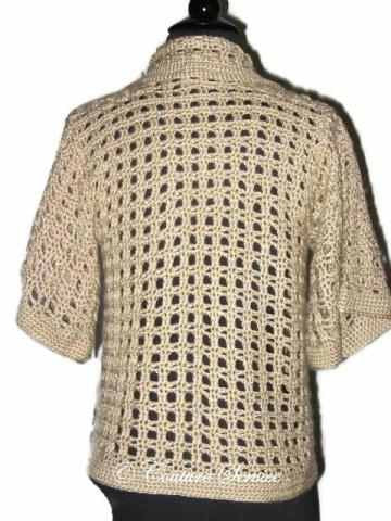 Handmade Crocheted Window Pane Lace Jacket, Natural - Couture Service  - 3