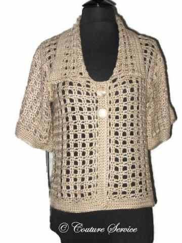 Handmade Crocheted Window Pane Lace Jacket, Natural - Couture Service  - 5
