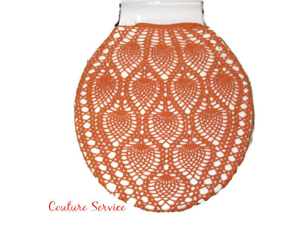 Handmade Crocheted Toilet Tank or Lid Cover, Orange