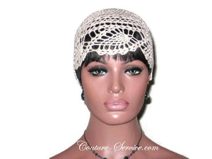 Handmade Pineapple Lace Cloche, Plus Size, Natural, White - Couture Service  - 4