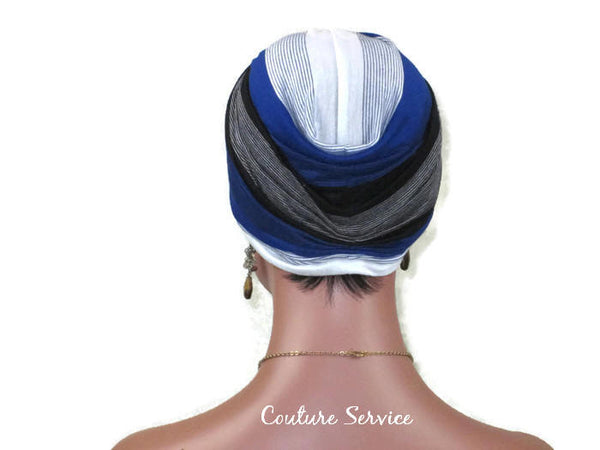 Handmade Striped Rayon Blue Twist Turban, White and Black