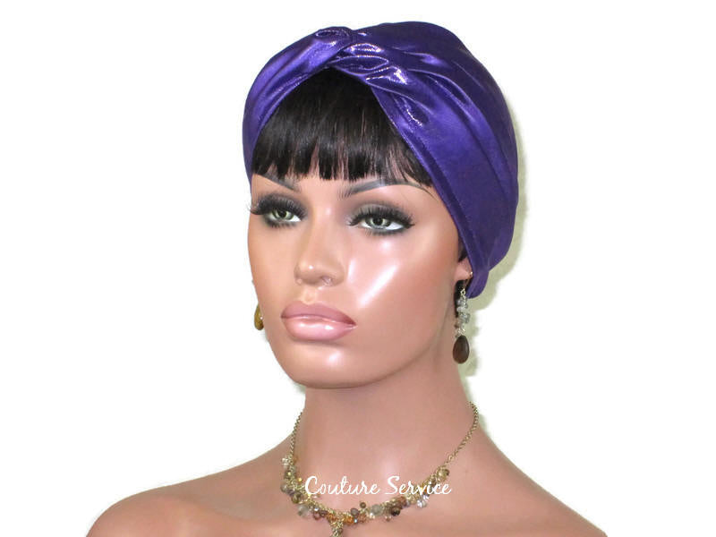 Handmade Purple Twist Turban, Metallic