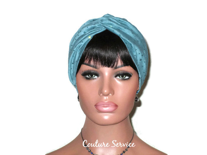 Handmade Holographic Sequined Twist Turban Teal Blue - Couture Service  - 1