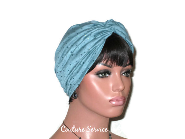 Handmade Holographic Sequined Twist Turban Teal Blue - Couture Service  - 2