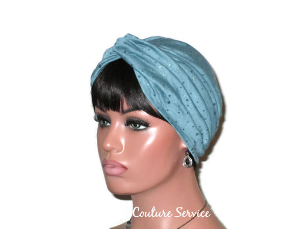 Handmade Holographic Sequined Twist Turban Teal Blue - Couture Service  - 4