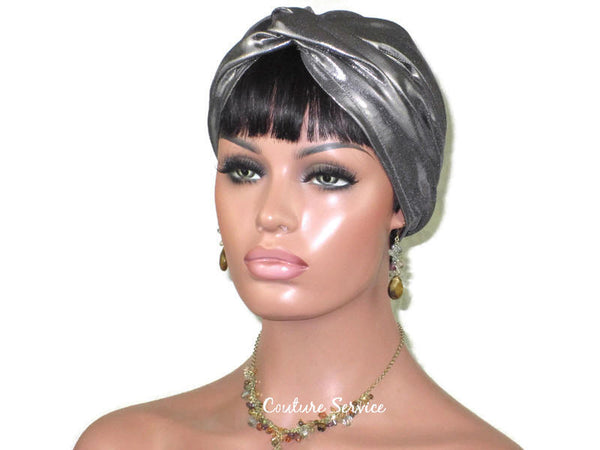 Handmade Steel Grey Twist Turban, Metallic