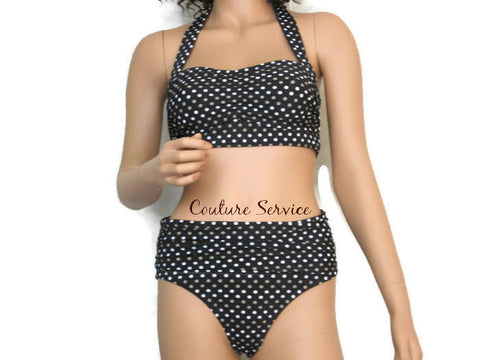 Handmade Brown Polka Dot Bikini Swimwear
