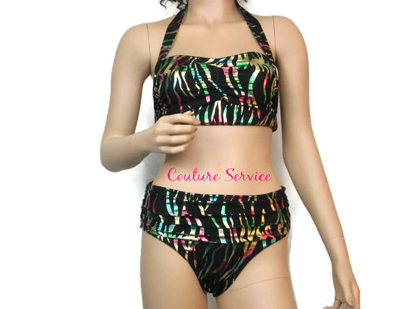 Handmade Black Multicolored Metallic Bikini Swimwear
