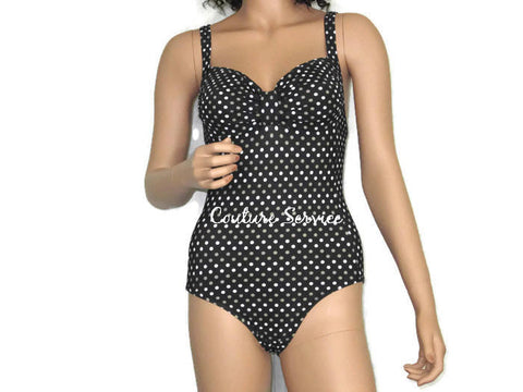 Handmade Brown Polka Dot One Piece Swimwear