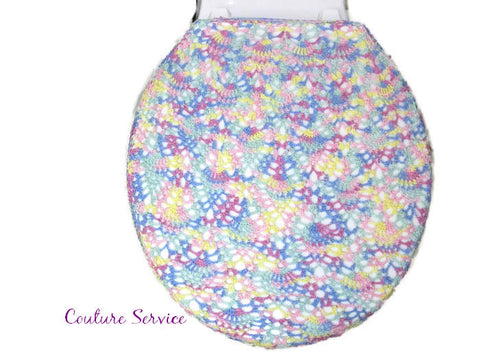 Handmade Crocheted Toilet Tank & Lid Cover, Pastel Variegated