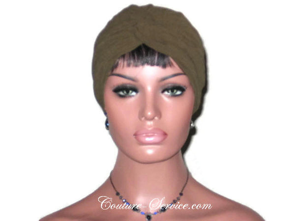 Handmade Green Twist Turban, Dark Olive