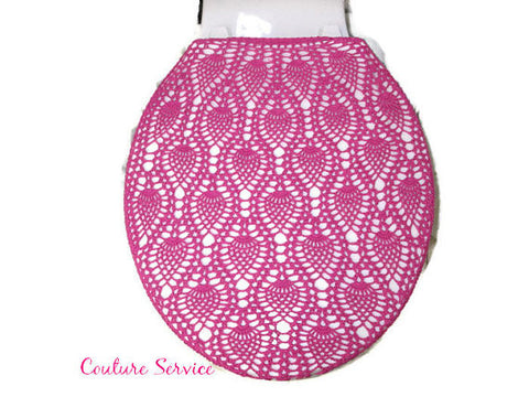 Handmade Crocheted Toilet Tank & Lid Cover, Hot Pink