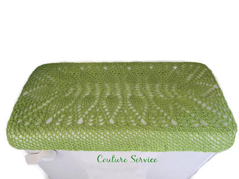 Handmade Crocheted Toilet Tank & Lid Cover, Lime Green