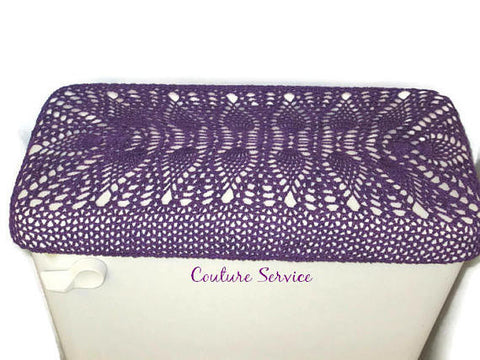 Handmade Crocheted Toilet Tank and Lid Cover, Purple