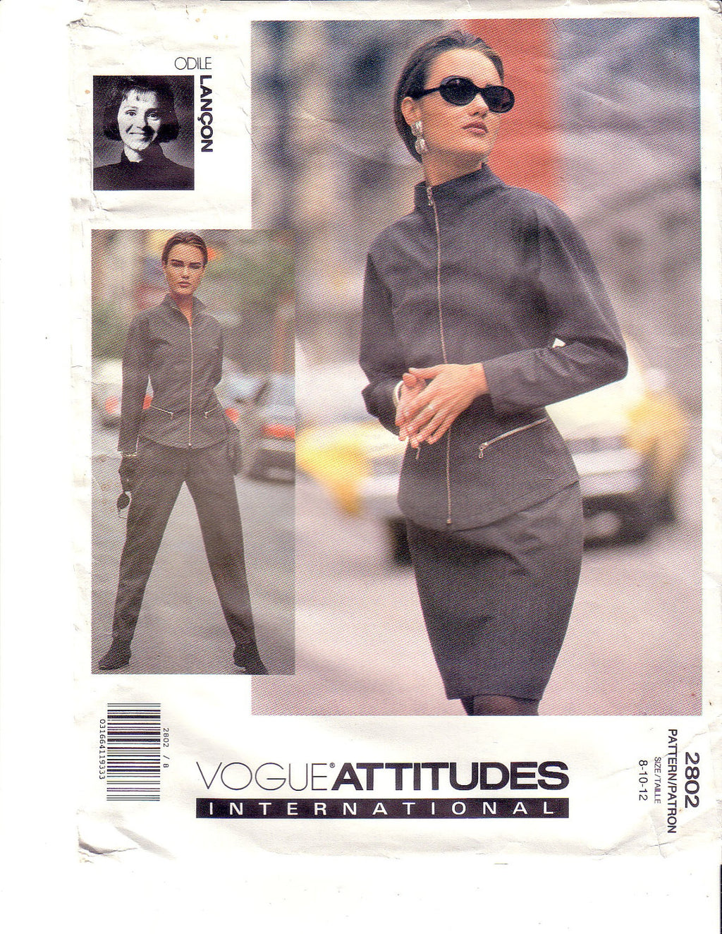 Vintage Vogue 2802, Attitudes International, Designer Lancon, Skirt, Jacket, Pants, Size 8, 10, 12 - Couture Service  - 1