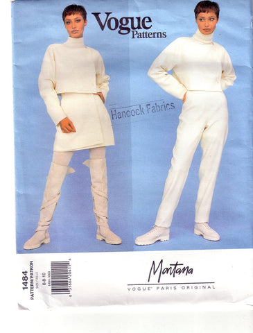 Vintage Vogue 1484, Paris Original, Montana, Size 6, 8,10, Misses Jacket, Skirt, Pants - Couture Service  - 1