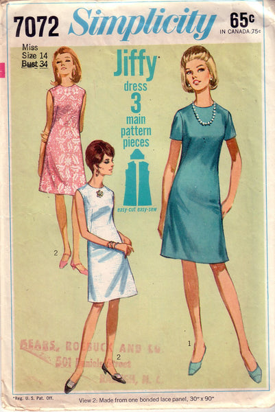 Vintage Simplicity 7072, Misses Dress, Size 14 - Couture Service  - 1