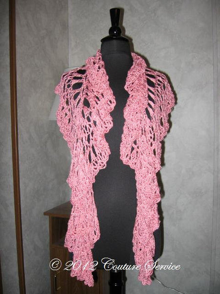 Handmade Crocheted Shell Lace Shawl, Pink - Couture Service  - 3