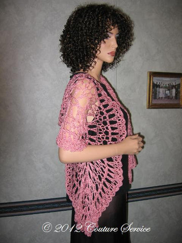 Handmade Crocheted Shell Lace Shawl, Pink - Couture Service  - 1