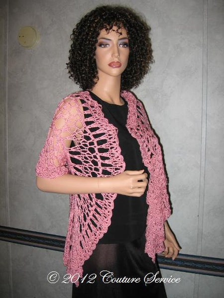 Handmade Crocheted Shell Lace Shawl, Pink - Couture Service  - 5
