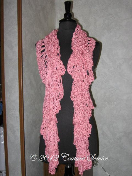 Handmade Crocheted Shell Lace Shawl, Pink - Couture Service  - 2