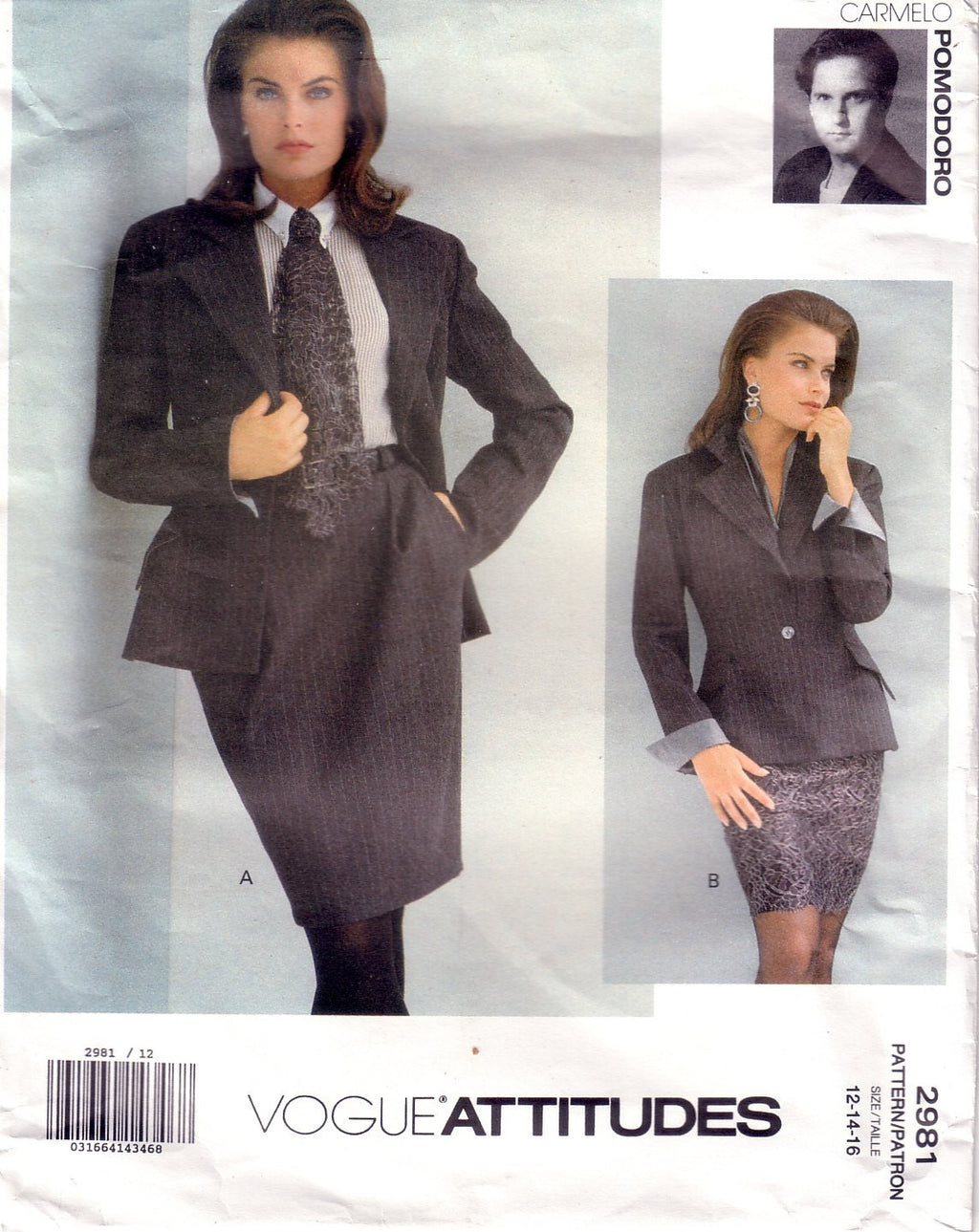 Vintage Vogue Attitudes 2981, Skirt and Jacket, Designer Carmelo Pomodoro, Size 12, 14, 16 - Couture Service  - 1